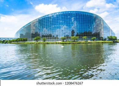 Strasbourg, France - June, 2018: Main building (Louise Weiss) of the seat of the European Parliament, in the Wacken district, designed by the Parisian firm Architecture-Studio and completed in 1999