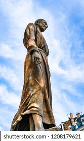 Strasbourg, France - June 2018: Statue of the blissful Charles de Foucauld by Daphne du Barry inaugurated in November 2006, in front of the catholic church of Saint Pierre le Jeune (St Peter the Young