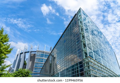 Strasbourg, France - June 24, 2018: Main building (Louise Weiss) of the seat of the European Parliament, in the Wacken district, designed by the Parisian firm Architecture-Studio and completed in 1999