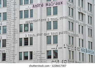 Strasbourg; France - mach 3 2017 : Andre Malraux media library in the Neudorf district