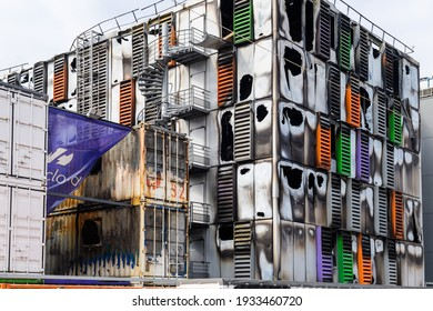 Strasbourg, France - Mar 10, 2021: Detail of burnt remains of the large data center - Millions of websites offline after fire at French cloud services firm OVH Cloud in Strasbourg France