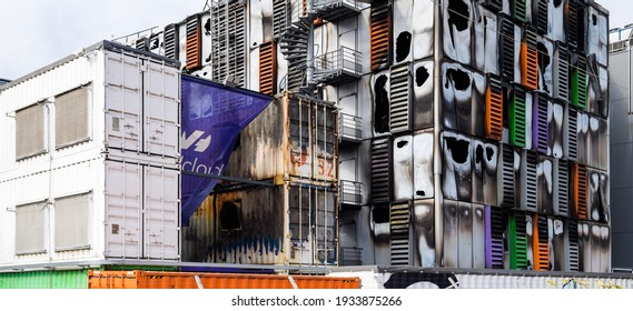 Strasbourg, France - Mar 10, 2021: Side view of burnt remains of the large data center - Millions of websites offline after fire at French cloud services firm OVH Cloud in Strasbourg France