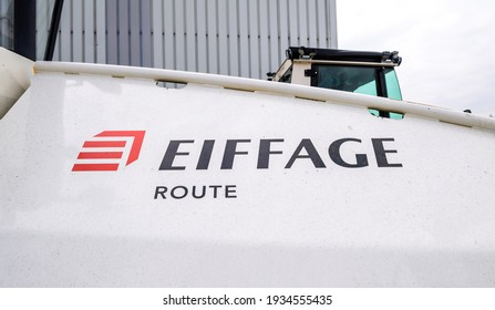 Strasbourg, France - Mar 10, 2021: Eiffage Route singage logotype on a modern paver - French civil engineering construction company. As of 2010 it was the third largest company of its type in France