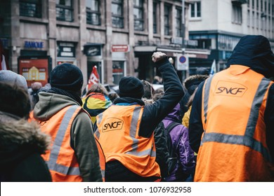 STRASBOURG, FRANCE  - MAR 22, 2018: SNCF french train worker demonstration protest against Macron French government string of reforms, mutiple trade unions called public workers to strike