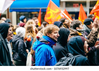 STRASBOURG, FRANCE  - MAR 22, 2018: Man making noise wtih voice at demonstration protest against Macron French government string of reforms, mutiple trade unions called public workers to strike