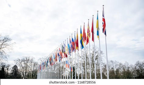 STRASBOURG, FRANCE - MAR 29, 2018: Flag of Russia flying half-mast at Council of Europe as a tribute and mourning of victims of fire at Zimnyaya Vishnya Winter Cherry shopping centre Kemerovo