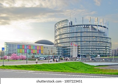 "STRASBOURG, FRANCE - MARCH 12, 2014: European parliament in Strasbourg, ""Louise Weiss"" building"