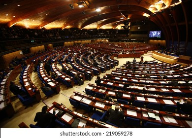STRASBOURG, FRANCE - MARCH 16, 2008: Building of Parliamentary Assembly of the Council of Europe. Assembly was founded in 1949, and now is one of the two statutory organs of the Council of Europe