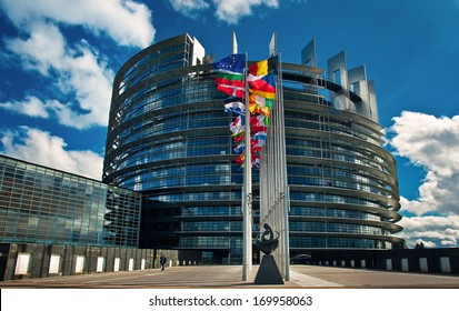 STRASBOURG, FRANCE - MARCH 20: Exterior of the European Parliament in Strasbourg, France on 20 March 2013. All votes of the European Parliament must take place in Strasbourg, France.
