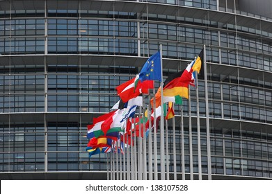 STRASBOURG, FRANCE - MARCH 25: flags of the European Union and member states in front of the European Parliament on March 25th, 2008 in Strasbourg, France. The EU is suffering from financial crisis.