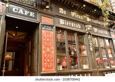 Strasbourg; France - march 5 2017 : restaurant in the picturesque city center
