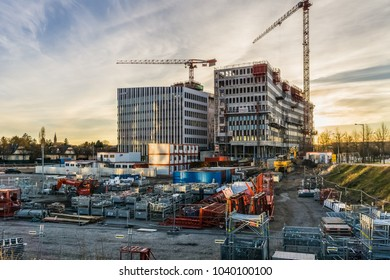 STRASBOURG, FRANCE - MARCH 5, 2018: Construction site of the new international business district in the Wacken district, next to the seat of the European Parliament in Strasbourg, France.