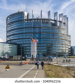 STRASBOURG, FRANCE - MARCH 5, 2018: The Louise Weiss building, seat of the European Parliament located in Strasbourg, France