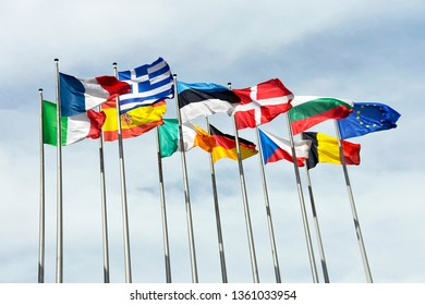 Strasbourg / France - May 10, 2012: Flags of European countries in front of the European Parliament in Strasbourg, France