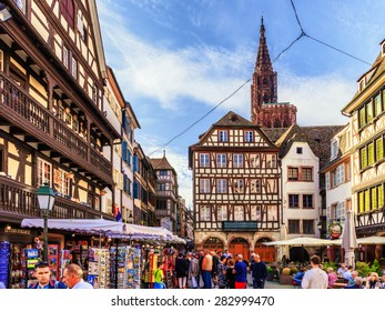STRASBOURG, FRANCE - MAY 16 2015: Historical picturesque european Town of Strasbourg, France. Historical Half Timbered Houses