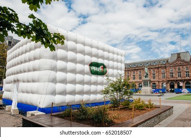 STRASBOURG, FRANCE - MAY 18, 2016: Pari mutuel urbain PMU tent at the FFF Tour Federation Francaise de Football installation in city center for the upcoming UEFA football soccer Championship