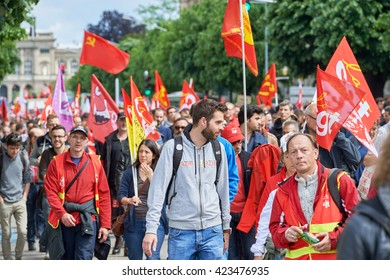 STRASBOURG, FRANCE - MAY 19, 2016: People with flags and placards during a demonstrations against proposed French government's labor and employment law reform