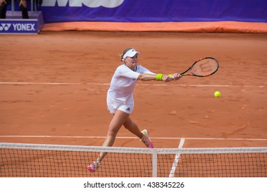Strasbourg, France - May 19, 2016 - Kristina Mladenovic hits a backhand volee