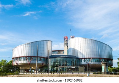 Strasbourg, France - May 19, 2017: European Court of Human rights in Strasbourg modern building with clear blue sky and some scattered clouds