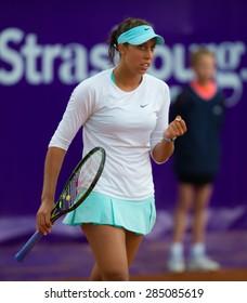 STRASBOURG, FRANCE - MAY 20 :  Madison Keys in action at the 2015 Internationaux de Strasbourg WTA International tennis tournament
