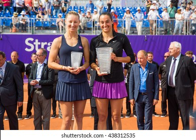 Strasbourg, France - May 21, 2016 - Mirjana Lucic-Baroni and Caroline Garcia hold their trophies