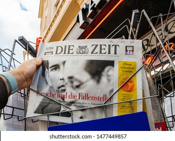 Strasbourg, France - May 25, 2019: French street with press kiosk news breaking with Chancellor of Austria Sebastian Kurz on cover of Die Zeit newspaper