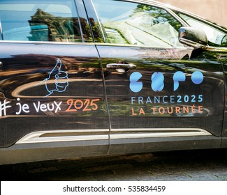 STRASBOURG, FRANCE - MAY 4, 2016: Renault Espace Initiale Sedan, the flagship model from Renault with Expo France 2025 stickers as an official partner for the French candidature for the exhibition