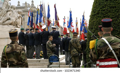 STRASBOURG, FRANCE - MAY 8, 2017: Veterans at Ceremony to mark Western allies World War Two victory Armistice in Europe marking the 72nd anniversary of victory over Nazi Germany in 1945 -