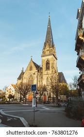 STRASBOURG, FRANCE - NOV 1, 2017: Saint Maurice Church on Avenue de la Foret Noire in Strasbourg on a fall day