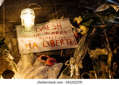 STRASBOURG, FRANCE - NOV 18, 2015: Message for Daesh with flowers, messages and candles in center of Strasbourg, in solidarity for victims and families of the assault in Paris