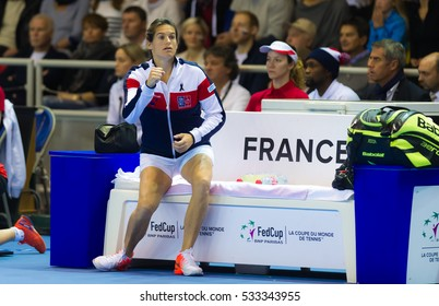 STRASBOURG, FRANCE - NOVEMBER 13 : Amelie Mauresmo in action at the 2016 Fed Cup Final tennis tournament