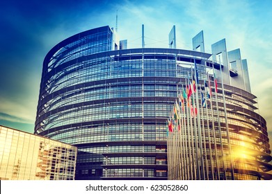 "STRASBOURG, FRANCE - November 25: Building ""Louise Weiss"" of European Parliament on November 25, 2014 in Strasbourg, France. The building houses the Chamber of Parliament and Members' offices."