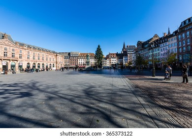STRASBOURG, FRANCE - NOVEMBER 5: Exterior views of historic buildings and landmarks in the old town part of Strasbourg on November 5, 2015. Strasbourg is a city in region Alsace in France.