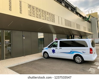 STRASBOURG, FRANCE - OCT 2, 2018: White ambulance van parked in front of hospital Rhena - the new hospital in Strasbourg