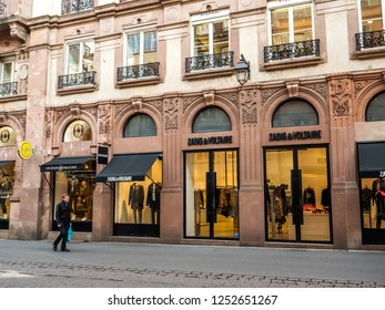 STRASBOURG, FRANCE - OCT 26, 2018: French fashion store Zadig and Voltaire in central Strasbourg with pedestrians walking on the street