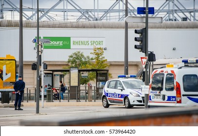 STRASBOURG, FRANCE - OCT 7, 2015: Police seucring zone executive luxury government and embassy cars  road toward European Parliament in France during President Francois Hollande visit in Strasbourg