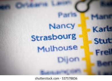Strasbourg, France on a geographical map.