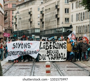 Strasbourg, France - Sep 12, 2017: let us free from work message on placard at political march during a French Nationwide day of protest against the labor reforms