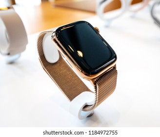 STRASBOURG, FRANCE - SEP 21, 2018: Apple Store with presentation for sale of the new latest gold edition Apple Computers Watch Series 4 wearable device