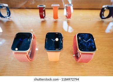 STRASBOURG, FRANCE - SEP 21, 2018: Apple Store the new latest Apple Watch Series 4 wearable personal luxury watch in pink gold new luxry devices sport trackers