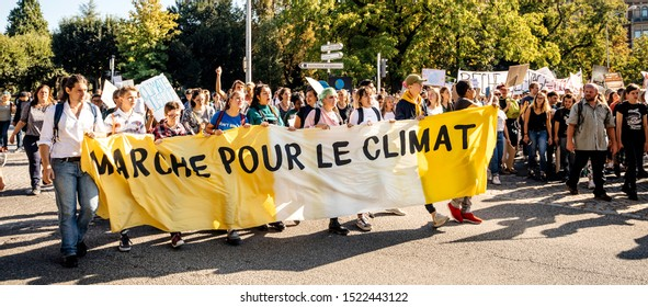 Strasbourg, France - Sep 21, 2019: Placard Marche pour le Climat in people hands during what could be the largest worldwide climate march change started by Swedish climate activist Greta Thunberg