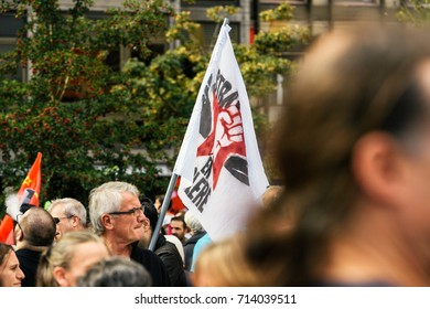 STRASBOURG, FRANCE - SEPT 12, 2017: Strasbourg en colere - Strasbourg Angry flag at political march during a French Nationwide protest against the labor reform proposed by Emmanuel Macron Government