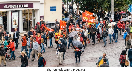 STRASBOURG, FRANCE - SEPT 12, 2017: View from above of people with placards at political march during a French Nationwide day of protest against the labor reform proposed by Emmanuel Macron Government