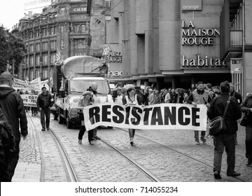 STRASBOURG, FRANCE - SEPT 12, 2017: Demonstrators with Resistance banner at political march during a French Nationwide day of protest against the labor reform proposed by Emmanuel Macron Government