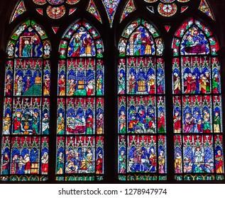 STRASBOURG, FRANCE, SEPTEMBER 03,  2018 : interiors and details of Saint Etienne cathedral, september 03, 2018, in  strasbourg, France