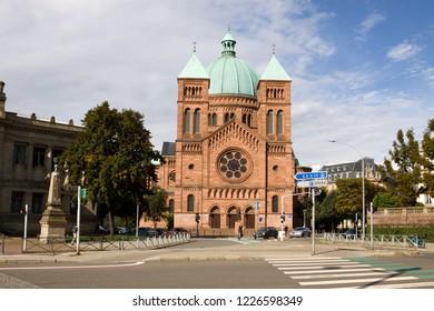 STRASBOURG, FRANCE - SEPTEMBER 09, 2010: Saint-Pierre-le-Jeune Catholic church in Strasbourg. Strasbourg has two Saint-Pierre-le-Jeune churches - Catholic and Protestant.
