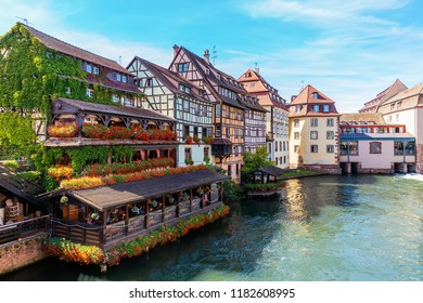 Strasbourg, France - September 09, 2018: view of the quarter La Petite France with unidentified people. In the middle ages it was the home for tanners, millers and fishermen. It is a main landmark