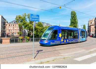 Strasbourg, France - September 09, 2018: tram in the city of Strasbourg with unidentified people. Strasbourg is the capital and largest city of the Grand Est, the historic center is UNESCO listed
