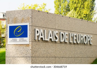 STRASBOURG, FRANCE - SEPTEMBER 18, 2009: The Palace of Europe (French: Palais de l'Europe) logo in front of its entrance. Palace of Europe has served as the seat of the Council of Europe since 1977