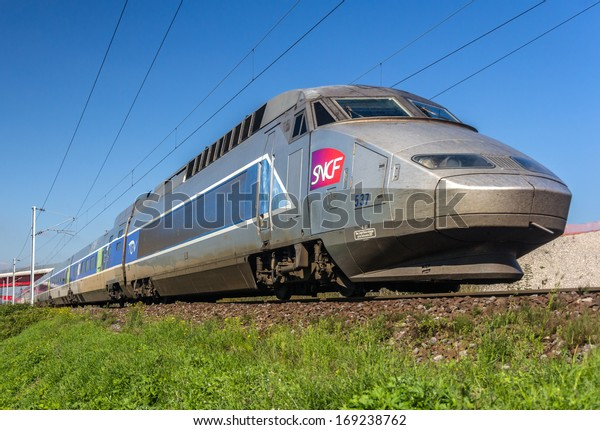 STRASBOURG, FRANCE - SEPTEMBER 22: TGV on a way from Paris to Strasbourg on September 22, 2013 in Strasbourg, France. The second phase of high-speed railway  Strasbourg - Paris will be opened in 2016